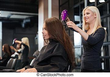 salón, estilista, belleza, secado, pelo, cliente, hembra