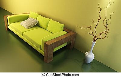salón, habitación, con, sofá