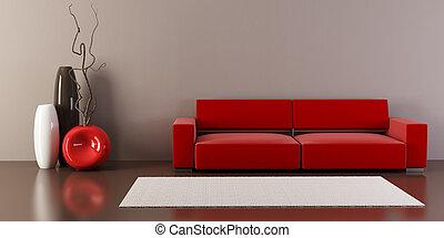 salón, habitación, con, sofá, y, floreros