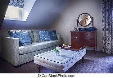 salón, habitación de hotel
