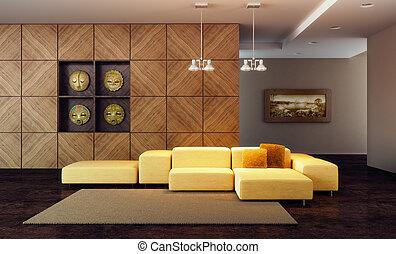 salón, habitación, lujo, render, 3d