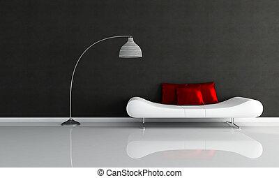 salón, minimalista, blanco, negro