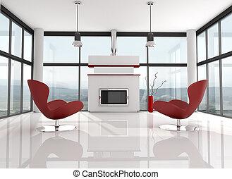 salón, minimalista, lwhite