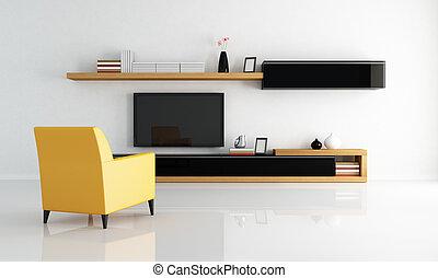 salón, minimalista, moderno