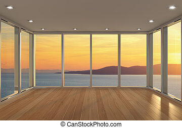 salón, moderno, vacío, área
