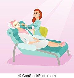 salón, mujer, belleza, cosmetología, durante, procedimiento
