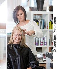 salón, mujer, peluquero