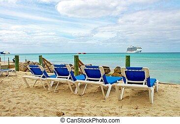 salón, sillas, en la playa