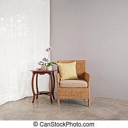 salón, sofá, silla, ajuste, rota