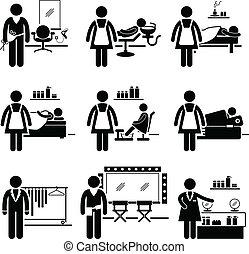 salón, trabajos, belleza, ocupaciones