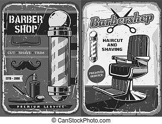 salón, viruta, barbería, bigote, barba