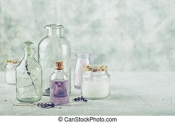 sal, óleos aromáticos