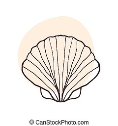 sal, cáscara, tatuaje, estilo, venera, negro, logotipo, diseño, seabed., tienda, mar, shell., acuario, pez, dibujo, blanco, bosquejo, ilustración