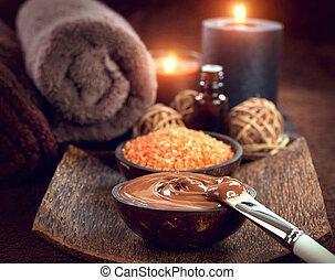 sal, esfregar, marrom, banho, treatment., máscara, chocolate, pele, spa, açúcar