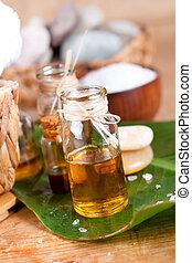 sal, madeira, sobre, zen, superfície, óleos, pedras, essencial