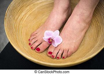 sal, mar, bath., tigela, pés, femininas, pé, spa