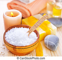 sal, mar, sabonetes, toalhas