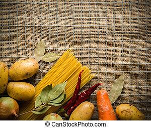 sal, piedra, cebolla, papas, ingredientes, pimienta, metal, oscuridad, ajo, cooking:, grid., mesa.