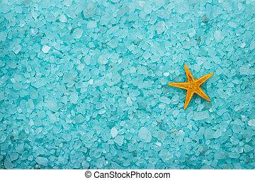 sal, plano de fondo, aromático, estrellas de mar, baño