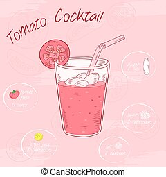 sal, vegetal, poster., ingredients., vidrio, paja, limón, ilustración, azúcar, zalamero, vector, printable, agua, imágenes, tomate, o, tarjeta