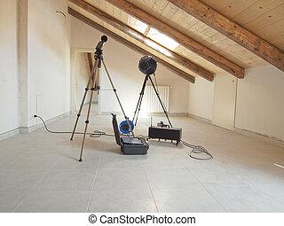 sala, acústica, ferramentas
