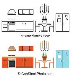sala, acessórios, cobrança, jantar, cozinha, mobília