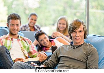 sala, alto-escola, estudantes, estudo, escrita, leitura
