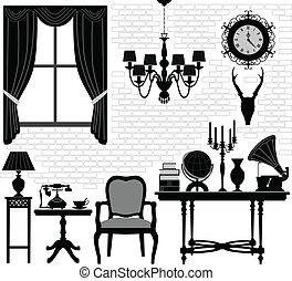 sala, antigüidade velho, corredor, mobília