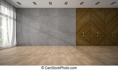 sala, armário, madeira, modernos, fazendo, desenho, vazio, 3d