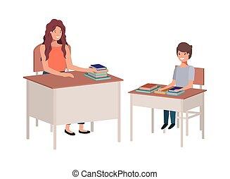 sala aula, aluno feminino, professor