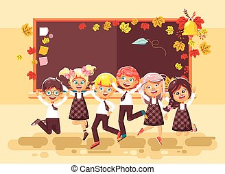 sala aula, apartamento, estilo, vetorial, colegas, pupilas, aprendizes, setembro, quadro-negro, fundo, costas, ilustração, outono, escola, pular, schoolgirls, caráteres, alunos, caricatura, feliz