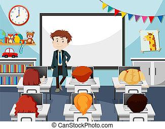 sala aula, aquilo, professor