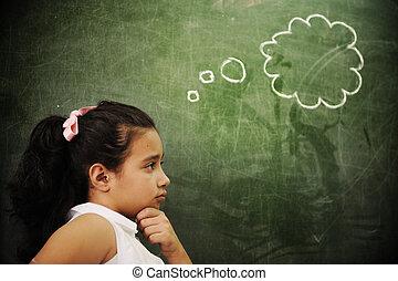 sala aula, atividades, educação, pensando, espaço, escola, menina, cópia, esperto
