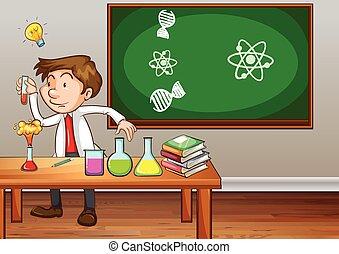 sala aula, ciência, experimentar, professor
