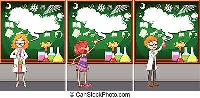 sala aula, ciência, professores