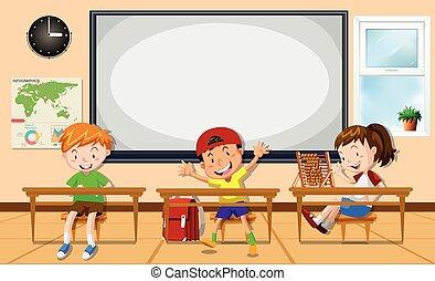 sala aula, crianças, aprendizagem