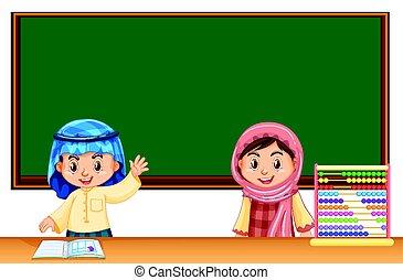 sala aula, crianças, dois, irag