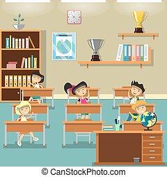 sala aula, crianças, ilustração