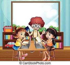 sala aula, crianças, trabalhando
