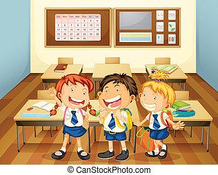 sala aula, crianças