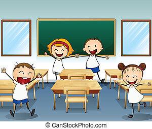sala aula, dentro, crianças, rehearsing