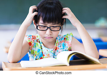 sala aula, deprimido, menininha, studing