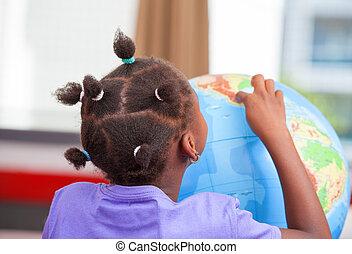 sala aula, elementar, americano, afro, menina