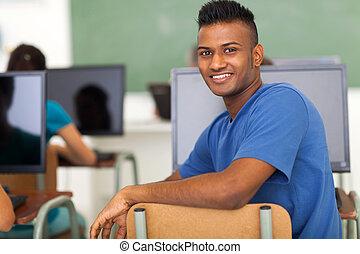 sala aula, escola, alto, indianas, estudante, macho
