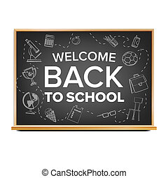 sala aula, escola, black., poster., september., venda, ilustração, costas, 1, realístico, chalkboard., educação, bandeira, related.
