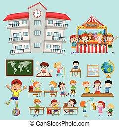 sala aula, escola brinca, cenas