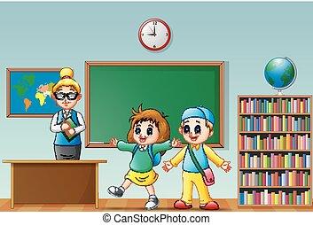 sala aula, escola brinca, professor feminino, feliz