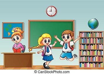 sala aula, escola brinca, uniforme, professor feminino, feliz