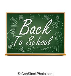 sala aula, escola, green., poster., september., blackboard., venda, ilustração, costas, 1, realístico, desenho, educação, bandeira, related.