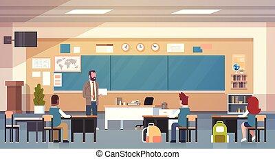 sala aula, escola, pupilas, professor, ensinando, lição, macho, classe
